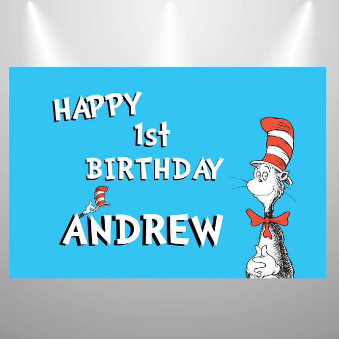 Printed Backdrop- Cat in the Hat- Dr Seuss Birthday Backdrop