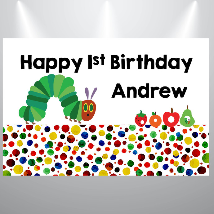 Printed Backdrop-  Hungry Caterpillar Birthday Backdrop