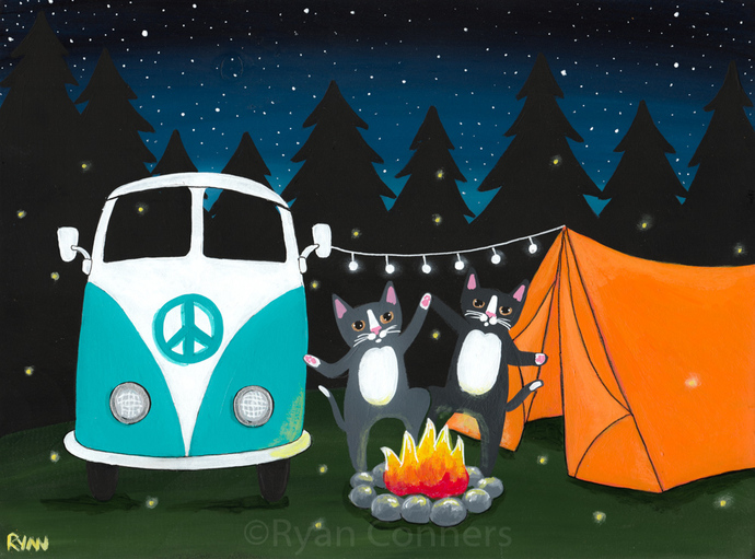 The Happy Campers Camping Cats Original Cat Folk Art Painting