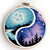 Yin yang landscape counted cross stitch pattern mountains forest nature birds