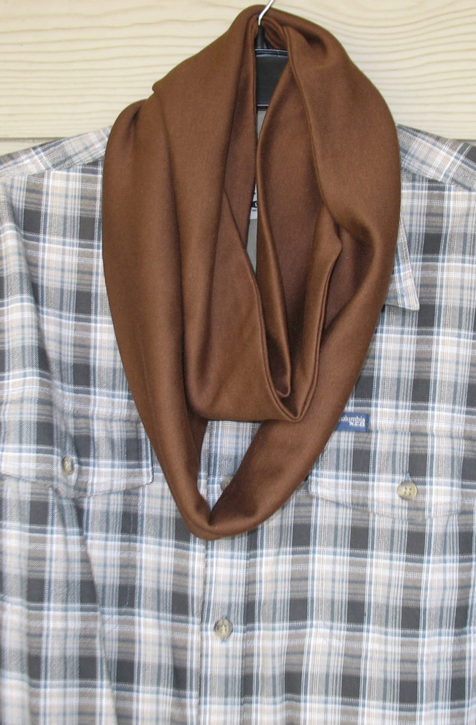 Men's infinity pocket scarf, travel scarf, phone pocket, narrow scarf in 3