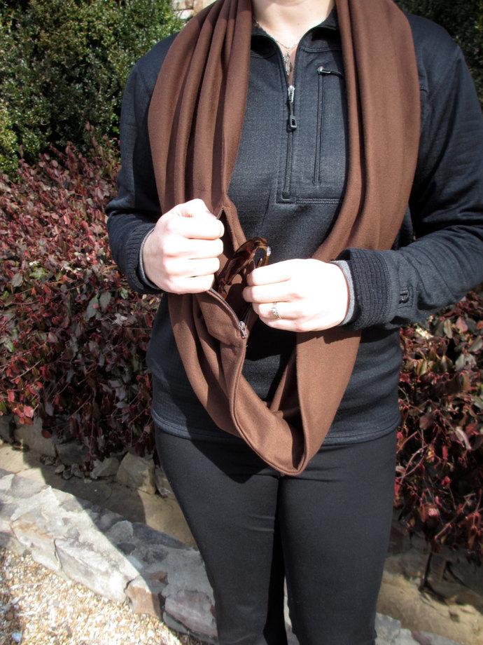 Scarf,  Infinity Pocket Scarf, travel scarf, zipper scarf, money pocket scarf,