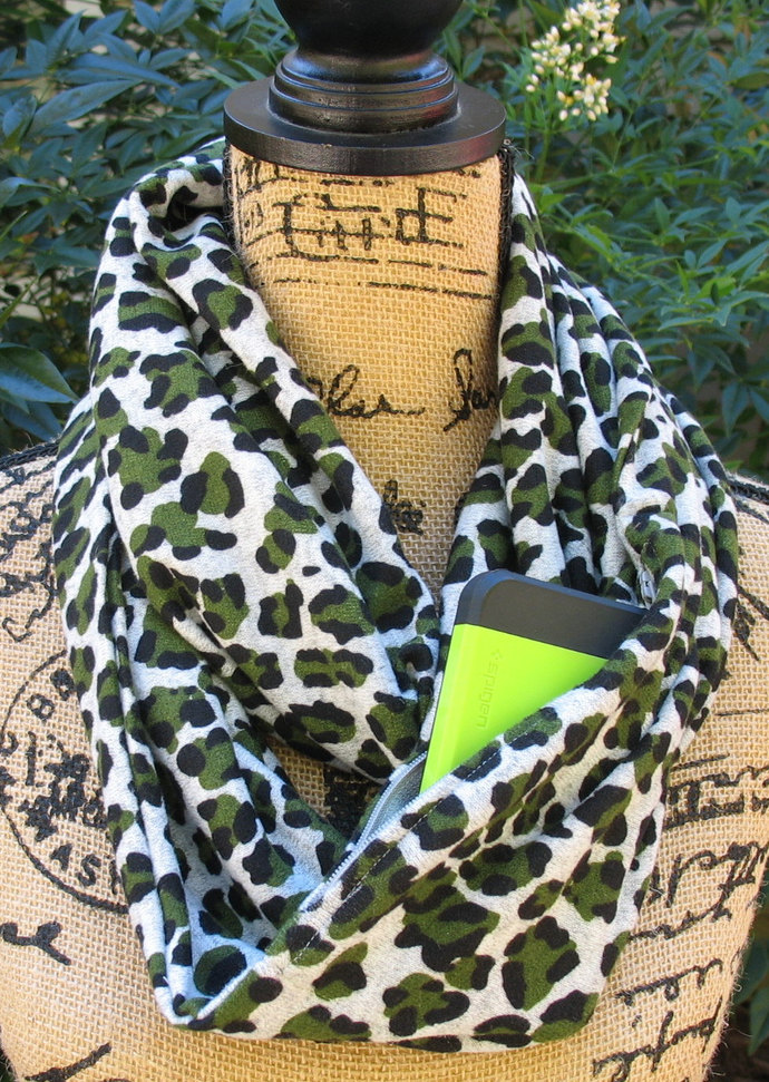 Infinity Pocket Scarf, animal print travel scarf, zipper scarf, cell phone  pocket