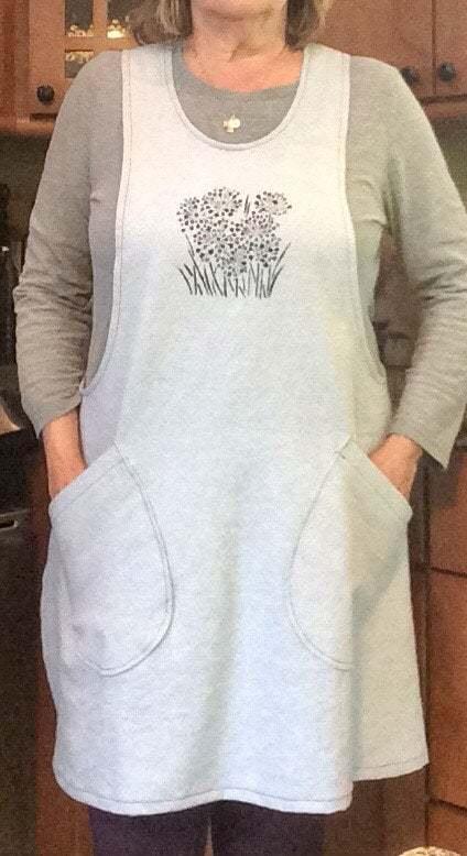 Cross Back stenciled linen blend  apron - Small/Medium fully lined