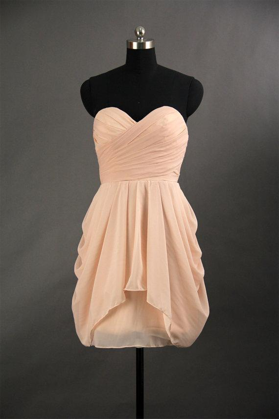 Lovely Pale Pink Strapless Slim Line Knee Length Chiffon Bridesmaid Dresses,