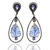 14 K Gold & Sterling Silver Tanzanite Carving Champagne Diamond Dangler Long