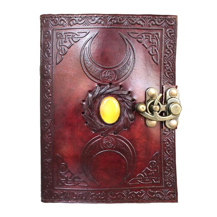 Handmade Leather Journal Notebook Triple Moon Solar Plexus Stone Embossed Wicca