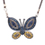 Sterling Silver Diamond Multi color Sapphire Butterfly Colorful Pendant Jewelry