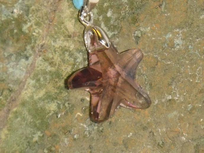 Crystal Pendant- amethyst purple starfish shape