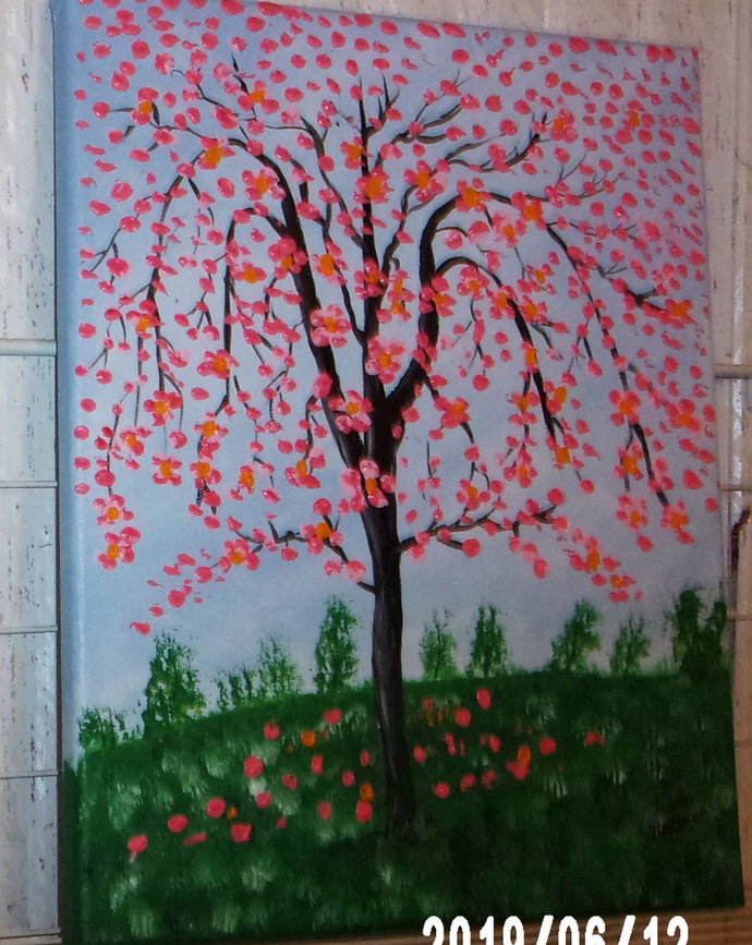"""Original Abstract Tree Painting, 12"""" x16"""" Acrylic Painting, """"Cherry Blossoms"""""""