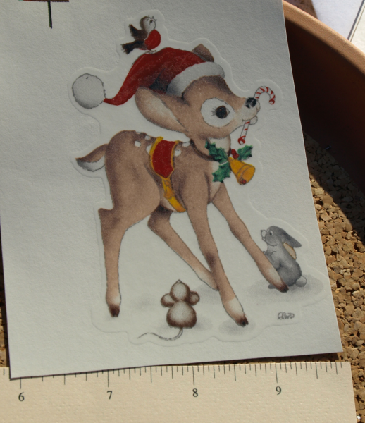 Large Deer with Santa Cap Ceramic Waterslide Decal