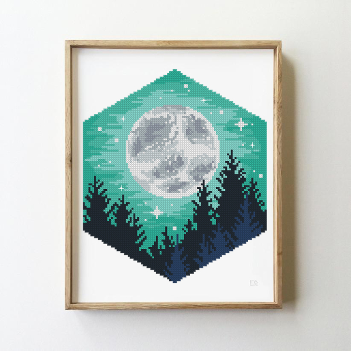 Landscape with moon counted cross stitch pattern - Cross Stitch Pattern (Digital