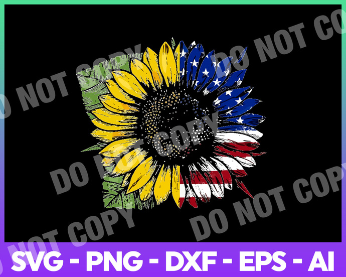 Sunflower American Flag, Independent Day, 4th of July Svg, Dxf, Eps, Png,