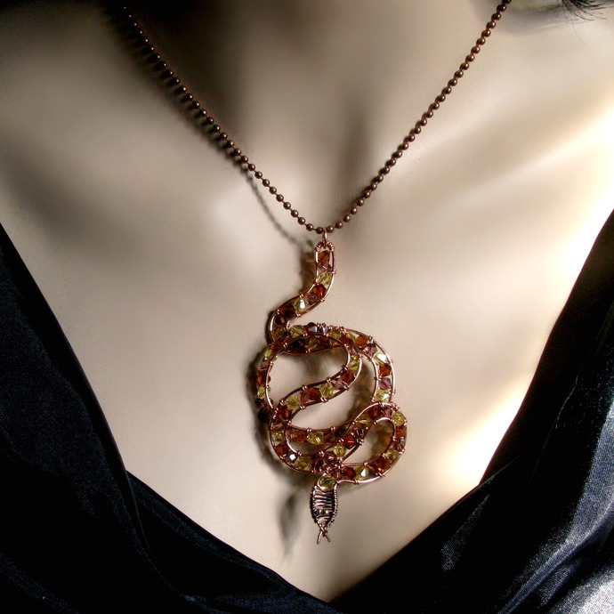 Wire wrapped copper snake pendant with crystals - Choose your snake!