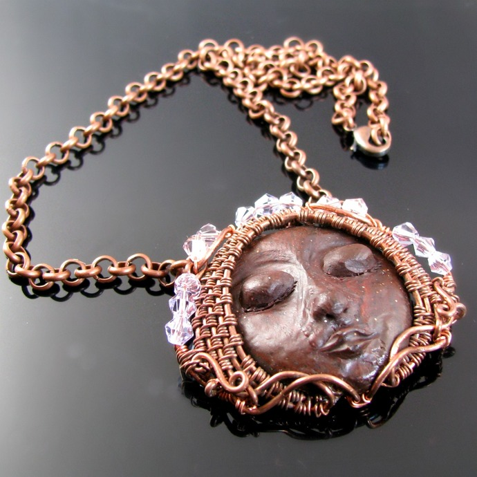 Wire woven and polymer clay mask pendant with crystals