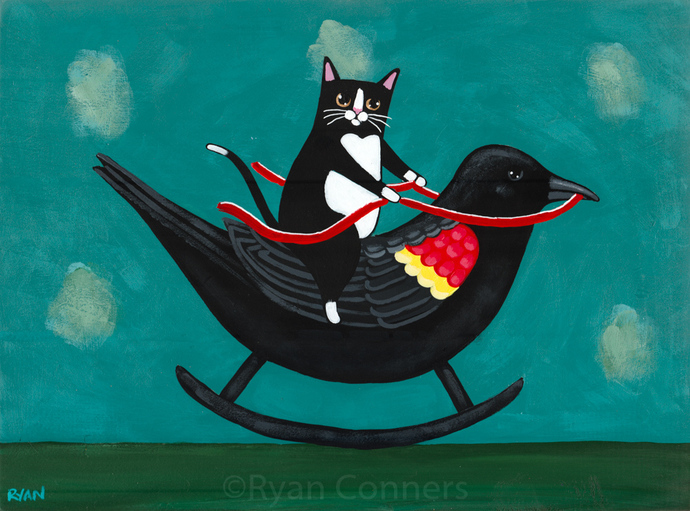 Tuxedo Cat on a Rocking Red Winged Blackbird Original Cat Folk Art Painting