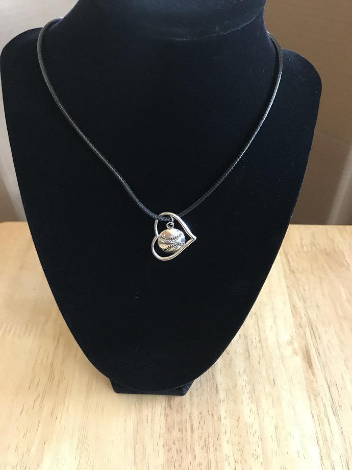 Baseball Floating Heart Necklace, Baseball necklaces, Baseball Jewelry, Baseball