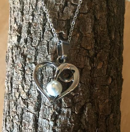 Heart/Pearl Necklace-Stainless Steel