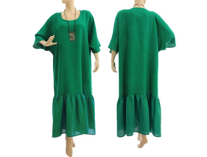 Maxi plus size green linen ruffled dress, boho summer linen dress, lagenlook