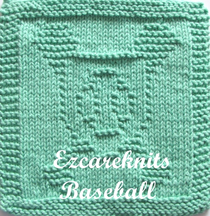 BASEBALL-Knitting Pattern, Face Cloth, Spa Cloth, Blanket Square, handicraft,