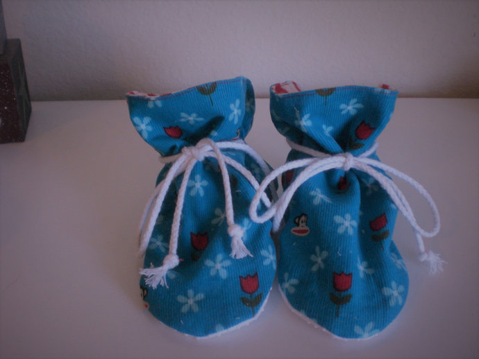 Corduroy Sock Monkey TV baby booties/soft sole shoes SIZE LARGE