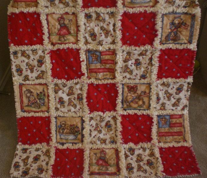 Patriotic Teddy Bear baby rag quilt
