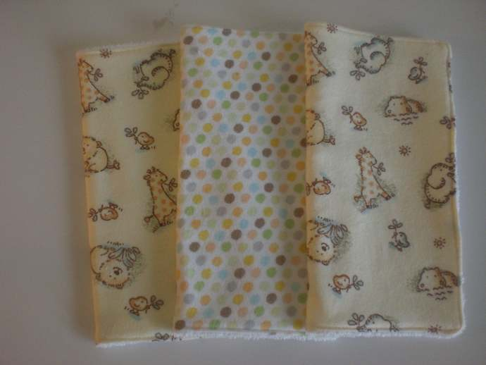 Jungle Animal baby wash cloths/reuseable wipes