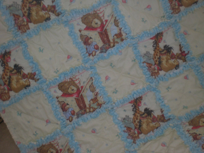 FREE SHIPPING Animal baby rag quilt