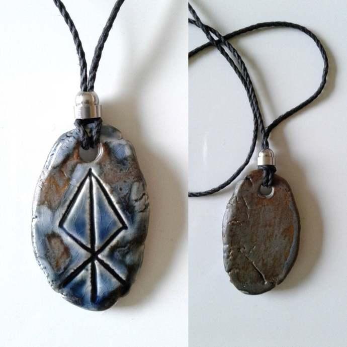 LOKI Necklace Blue Bronze Ceramic Norse Runestone Pendant Viking Amulet