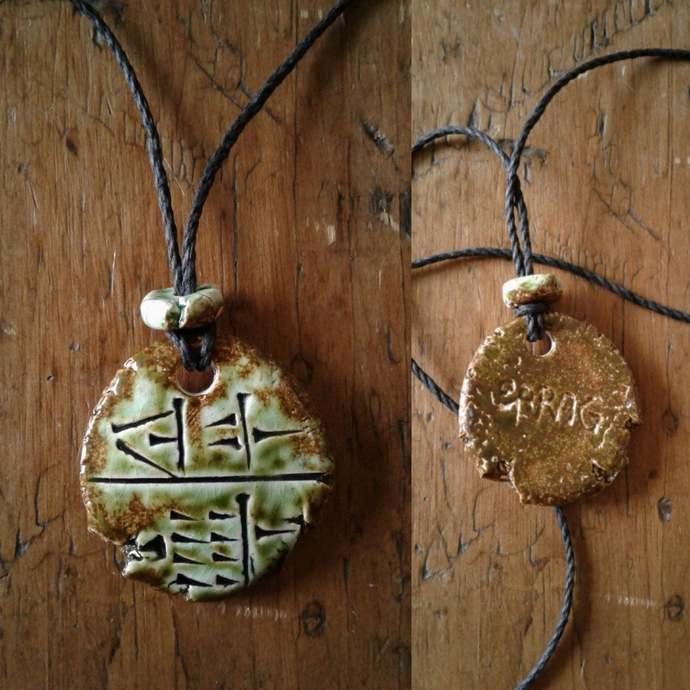 Cuneiform INNER SANCTUM Necklace Sumerian Pendant Green Moss Ceramic BARAG