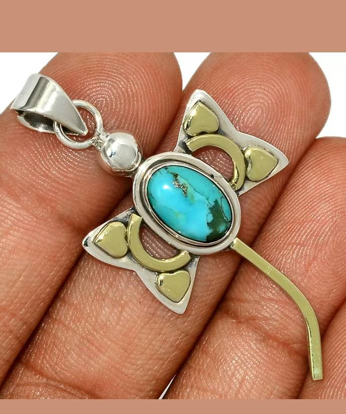 Sleeping Beauty Turquoise, Brass and Sterling Silver Pendant