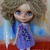 "BLYTHE or Pullip DOLL Dress - OOAK - ""Melanie""  fluffy soft mohair with 3D roses"