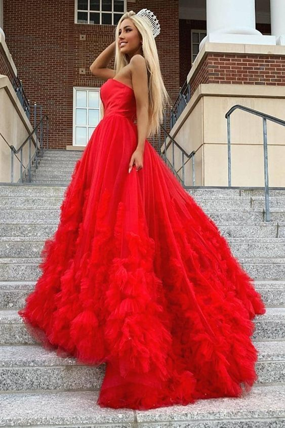 Tulle Red Long Prom Dress, Red Wedding Dress
