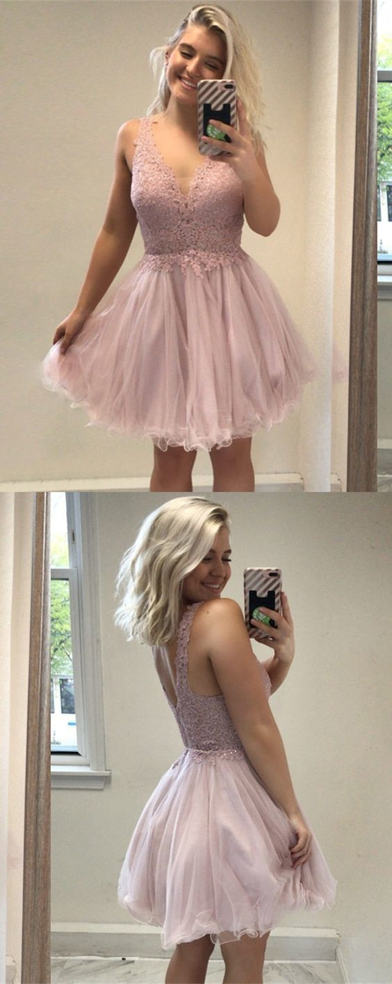 A-Line V-Neck Short Pink Homecoming Dress with Appliques