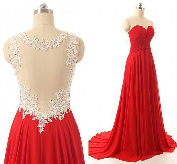 Chiffon Prom Dress,Red Long Prom Gown,Sweep Train Evening Dress