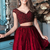 Two Pieces Homecoming Dresses,Burgundy Homecoming Dresses,Beaded Homecoming