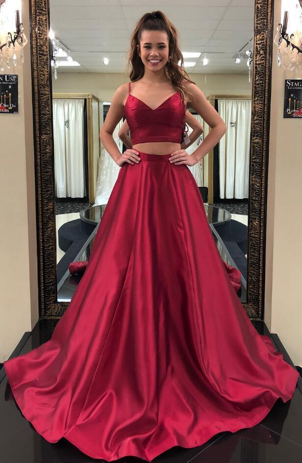 Two-Piece Red Prom Dress,Stain Prom Dress,Simple Prom Dress, Long Prom