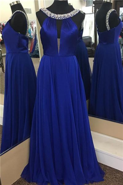 Royal Blue Chiffon Beaded Prom Dresses A-line Long Sleeveless Evening Dresses