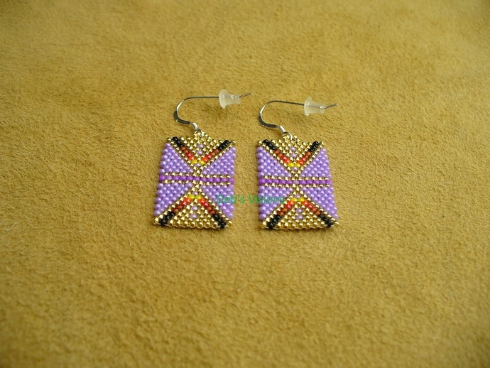 Native American Style Geometric earrings in Lavender and Fire Colors