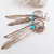Vintage Southwestern Sterling Silver Feather Earrings with Turquoise