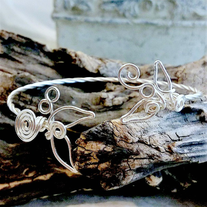 Sculpted Wire Bracelet Arm Cuff Mermaids Tale