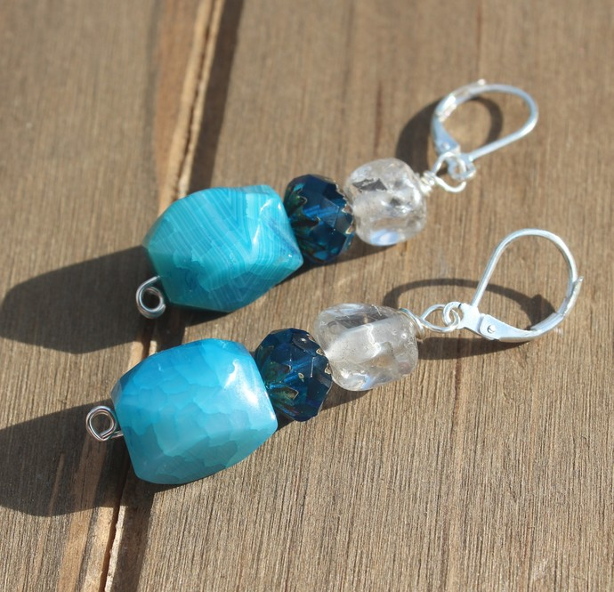 Blue agate Quartz & Czech crystal Earrings Ear Jewelry by KnottedUp