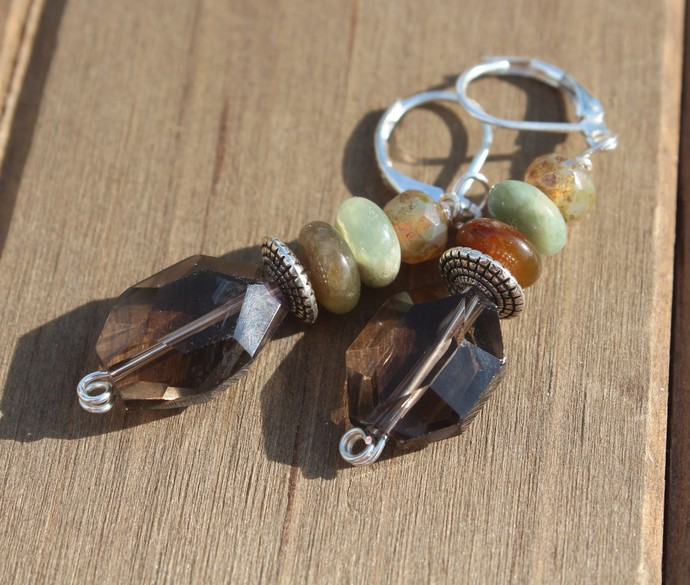 Natural Smoky Quartz Dangle Earrings 2 inches with Antique Jade & czech crystals