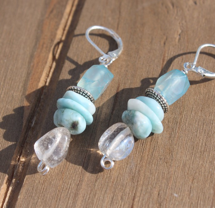 Larimar Dangle Earrings 2 inches with sparkling clear quartz Natural Jewelry