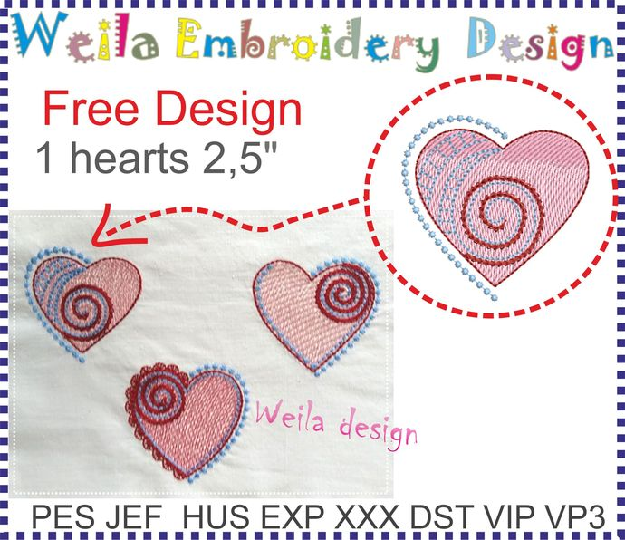 Free Design Hearts 1 Machine Embroidery design Clothes Pillow project pes jef