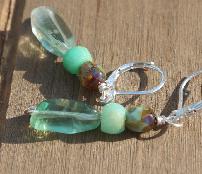 Dainty Flourite Earrings with Chrysoprase Silver Lever back 1 3/4 inches Natural