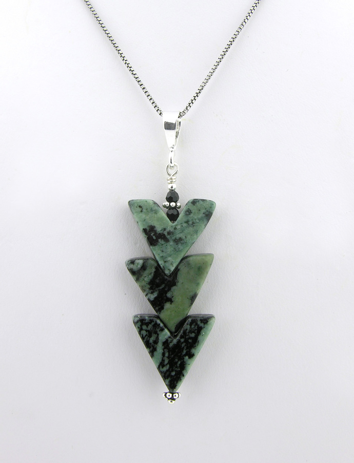 kambaba jasper, black, green, Swarovski crystals, arrow, sterling silver