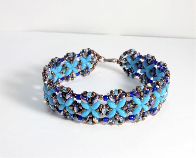 Jewelry Blue Turquoise  Handmade Bracelet Peacock Rainbow Beaded Glass Superduo