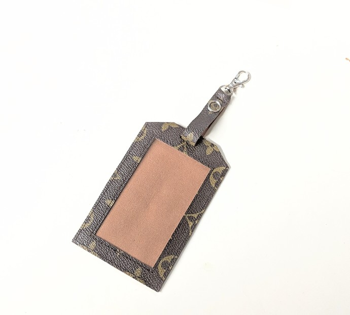 Louis Vuitton monogram ID badge - upcycled LV ID badge - Louis Vuitton name tag
