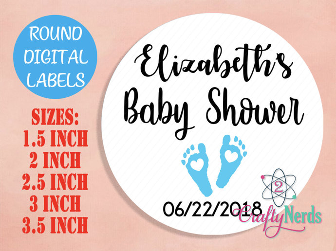 Round Labels Baby Shower Blue Feet Any Color Digital JPG or PDF { 1.5, 2, 2.5,